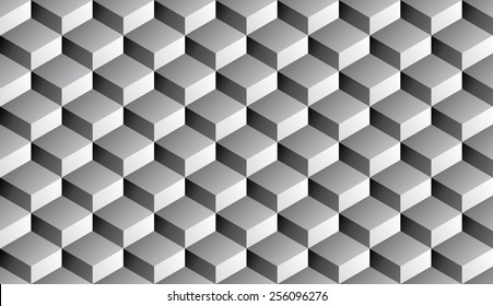 Seamless isometric grayscale gradient flattened cubes optical illusion pattern