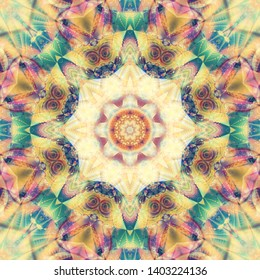 Seamless kaleidoscope colorful texture. Illustration for design. Bright flower.