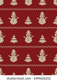 Seamless knitted pattern with Christmas trees and snowmen on a red background. Christmas background. Ornament. Raster
