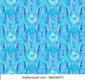 seamless lace pattern with hamsa elements. very dense ornamental design in shades of blue.