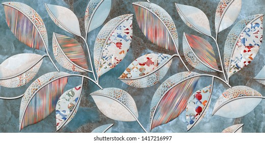 Seamless Leaf pattern on marble stone texture background,  Multicolor Digital Leaf Wall Decor, Architectural Floral Ornament, Leaf embossed wall decor, Web page background.