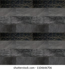 seamless leather patchwork background, 3d illustration