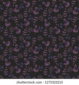 Seamless Leaves Pattern. Floral pattern with Herbs on a black background. Vintage Background for your design.