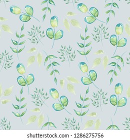 Seamless Leaves Pattern. Floral pattern with Herbs on a gray background. Vintage Background for your design.