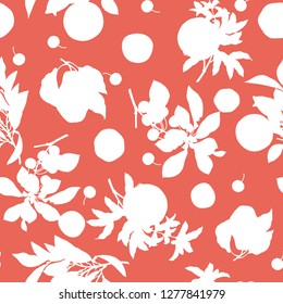 A seamless lemon, pear, cherry and pomegranate pattern on coral background.