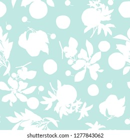A seamless lemon, pear, cherry and pomegranate pattern on light green background.
