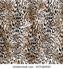 Seamless leopard pattern, hand drawing animal print, watercolor background leopard texture