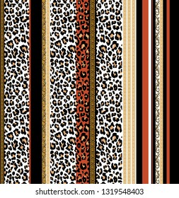 seamless leopard skin and colors line baroque pattern