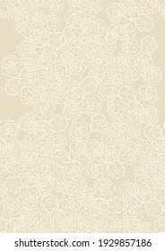 Seamless light background with beige pattern in baroque style. retro illustration. Ideal for printing on fabric or paper for wallpapers, textile, wrapping. High quality illustration