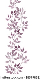 Seamless line border with hand drawing aquarelle violet leaves. Repeated pattern.