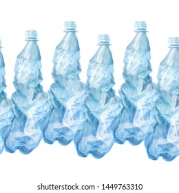 Seamless line of used blue plastic bottles isolated on white background. Decorative border for your design