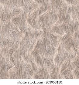 Seamless long hair animal fur texture. Beige white color.