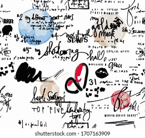 Seamless love letters, hand writing, watercolor