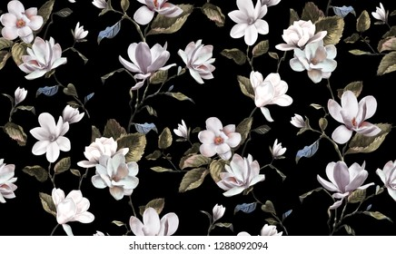 seamless magnolia pattern design