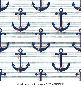 Seamless marine pattern . An anchor on a striped background.