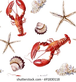 Seamless marine pattern with crayfish, shells and starfish on white background. Watercolor painting. Hand painted.