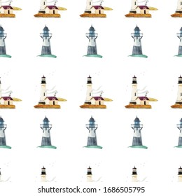 Seamless marine pattern with hand drawn lighthouses.