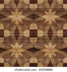 Seamless Mashrabiya Style Pattern in Wood Blocks