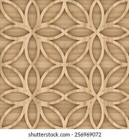 Seamless Mashrabiya Style Pattern in Wood