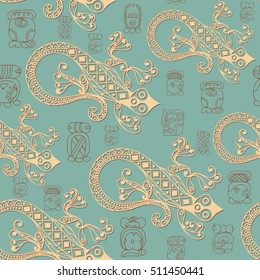 Seamless Maya art boho pattern with lizard. Ethnic print. Aztec background texture. Fabric, cloth design, wallpaper, wrapping, packaging.