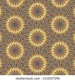 Seamless metallic, bright gold, brown, black, star pattern. Abstract design, illustration for wallpaper, fabric, print, holiday