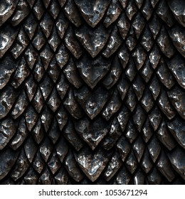 Seamless metallic texture of dragon scales, reptile skin, 3d illustration