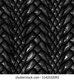 Seamless metallic texture of dragon scales, reptile skin, 3d illustration
