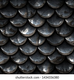 Seamless metallic texture of fish scales, reptile skin, 3d illustration