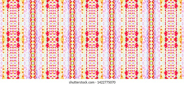 Seamless Mexican Pattern. Geometric Mexican Wallpaper. Ethnic Ornament. Tie-Dye Kaftan Design. Watercolor Mexican Pattern.