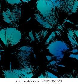 Seamless Miami night tropical pattern black foliage on sunset blur. High quality illustration. Swim, sports, or resort wear repeat print. Dark foreground on blurred background. Dark vibrant colors.