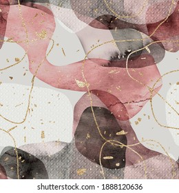 Seamless minimalist abstract watercolor paint and gold blobs shapes. Organic round curvy shapes and lines. Sparkly gold foil lines and flecks. Transparent white geometric pattern shape overlay.