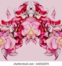 seamless modern kaleidoscope pattern with pink pansy flowers