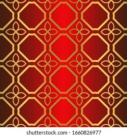 Seamless Modern Pattern. Art-Deco Geometric Background. Graphic Design.  Illustration. red gold color.