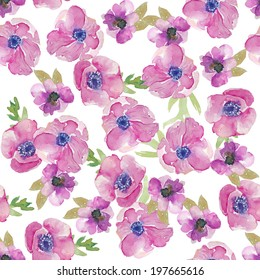 Seamless Modern Watercolor Floral Background Pattern with Painted Anemone Flowers
