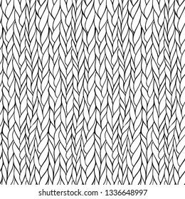 Seamless monochrome hand drawn knitting pattern. Raster version