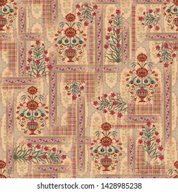 Seamless mughal floral with ethnic paisley with pattern on digital cream Geometric   background