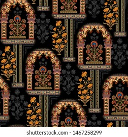 Seamless mughal floral with ethnic paisley with pattern on  black background