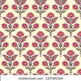 Seamless mughal floral pattern on cream background