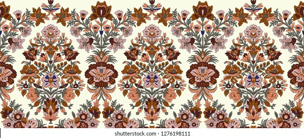 Seamless mughal flower bunch border