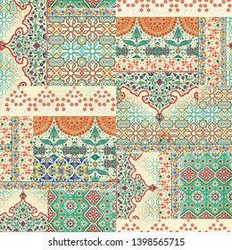 Seamless mughal paisley pattern on digital background