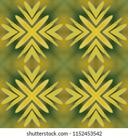 Seamless multi color gold, yellow, tan, blue, green symmetrical geometric pattern. Abstract design, illustration for wallpaper, fabric, print