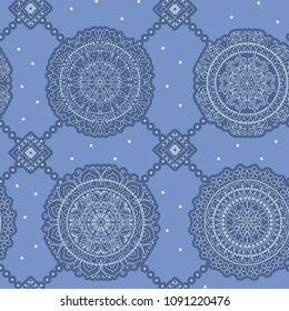 Seamless multicolor pattern with oriental mandalas. Hippie mandala pattern. Kaleidoscope elements. Fabric, wallpaper or wrap print