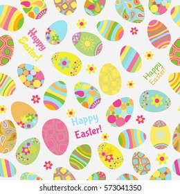 Seamless multicolored pattern of Easter eggs with various ornaments