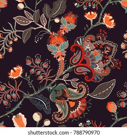 Seamless nature pattern. Background with big decorative flowers, indian floral style. Design for carpet, rug, fabric, textile, saree, wallpaper, cover. Colorful flowers on the dark backdrop