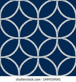 Seamless nautical rope pattern. Endless navy illustration with white loop ornament. Decorative geometric lines on dark blue backdrop. Trendy nautic maritime style. For fabric, wallpaper, wrapping
