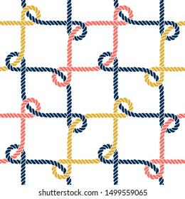 Seamless nautical rope pattern. Endless navy illustration with colorful loop ornament. Decorative geometric lines on white backdrop. Trendy nautic maritime style. For fabric, wallpaper, wrapping