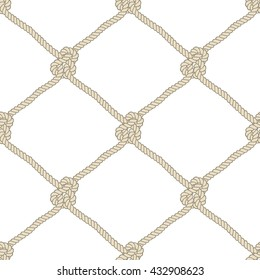 Seamless nautical rope pattern. Endless navy illustration with beige fishing net ornament and marine knots on white backdrop. Trendy maritime style background. For fabric, wallpaper, wrapping.