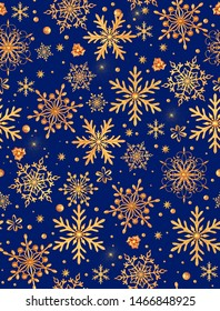 Seamless new year pattern. Christmas theme, golden openwork shiny snowflakes, star, 3D rendering.
