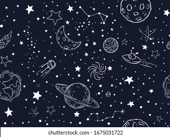 Seamless night sky stars pattern. Sketch moon, space planets and hand drawn star  illustration. Astronomy symbols decorative texture. Cosmic wallpaper, wrapping paper, textile outline design