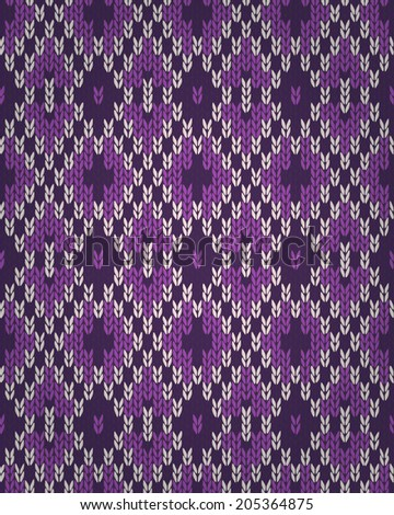 Seamless Orchid Color Knitted Pattern Style Stock Illustration